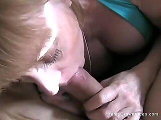Mature busty blonde stepmom begs to sucks my big cock