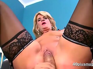 Blonde milf fucked in sexy lingerie