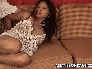 Asian hottie in white lingerie tied up and groped
