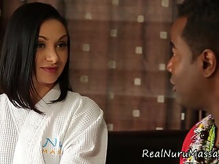 Interracial masseuse blow