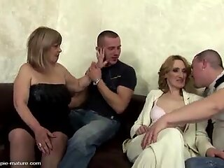 Mature anal creampie in hot older orgy