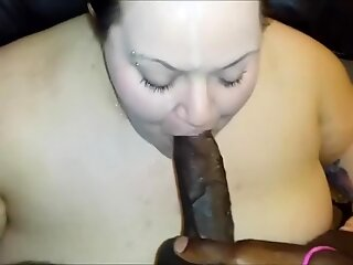 Chunky chick eating a BBC