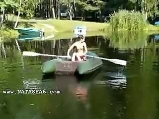 Amateur italian Natasha in the boat