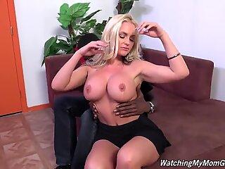 Bitch mom with extra-large titties fucks black boy