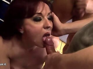 Two mature mothers take a bunch of cocks
