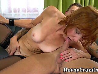 Granny in stockings fuck