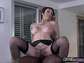 Busty euro mature riding black dick