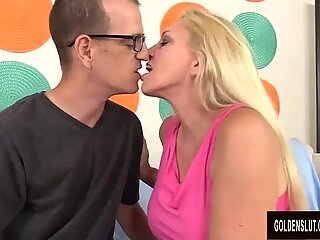 kinky grandmother Cala craves Blows and Tit Fucks a Guy Before Taking a Facial