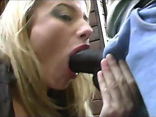 Naughty blonde slut banged by a big black cock