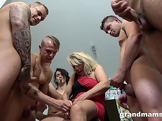 first-ever Ever grandmother gangbang! Cum Everywhere!