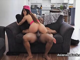 Picking up and big black cocking Asian cutie