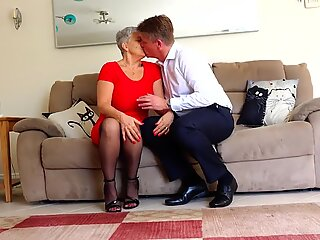 Busty granny takes young uncut cock