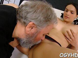 Old nasty dude fucks young hole