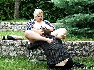 Busty and beautful BBW Rebecca punishes sub