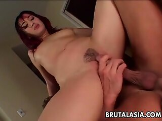Asian beauty Katsumi takes a big dick in her anus