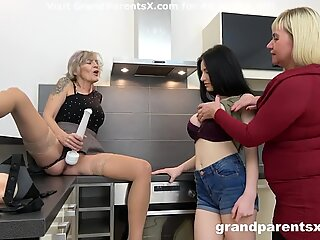 Busty Babe Fucked with Strapon by Grandma and Friend
