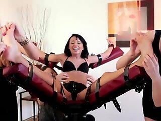 women group tickle Tiny Gina Devine