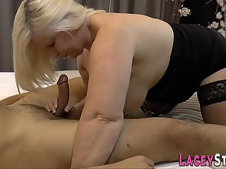 Stockinged fat granny blows huge dick