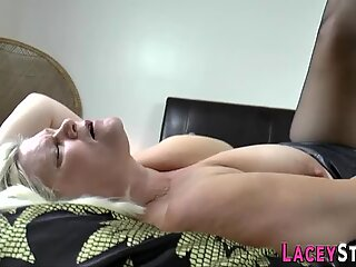 Stockinged old whore with big tits