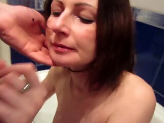 inexperienced super-fucking-hot cougar Gets Cum On Her Lips In Bathroom