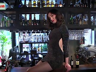 Defiant and always horny nymphomaniac from China poses on the bar.