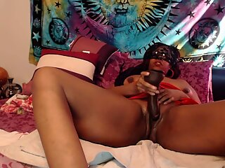 Ebony Exotic Web Cam Queen Fucking is huge black dildo.