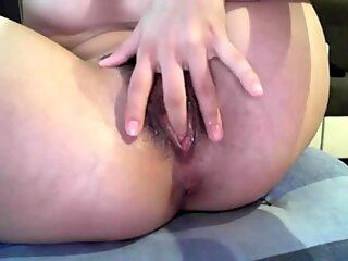 So horny beautiful milk finger fucking her hot pussy