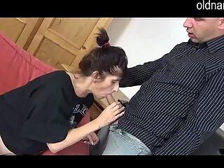 Horny granny and man having blowjob