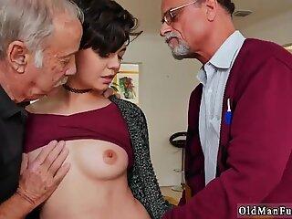 Old guys fucking busty brunette