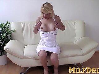 Sensual mature slut strips and masturbates in her heels