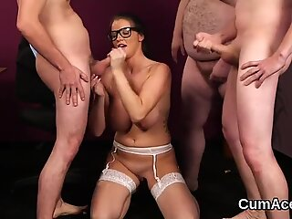 Flirty idol gets sperm shot on her face sucking all the cum