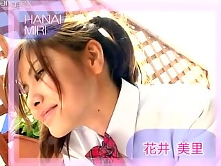 Chick with pigtails Miri Hanai makes grimaces on camera